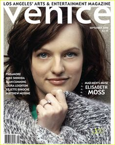 Mad Men - Elisabeth Moss on Venice Magazine Cover | The AMC stars of Mad Men as an attractive theme on famous magazine covers. #MadMen #Mad #Men #MagazineCovers