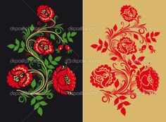 Traditional Russian Folk Art | Russian traditional Hohloma ornament