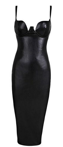 supper sexy, body-con fit, sleeveless, v- neck, length below knee, adjustable spaghetti straps, padded cups, back split, fully lined, exposed back zipper, Color - Black Size -X-Small, Small, Medium, L