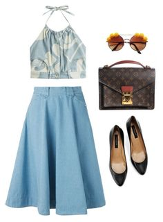 """""""Untitled #263"""" by reginasiena ❤ liked on Polyvore featuring Levi's, Louis Vuitton, Ann Taylor, Moschino, vintage, skirt, Blue and old"""