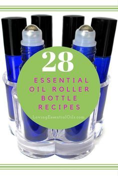 28 Essential Oil Roller Bottle Recipes | Rollerball Remedies | How To Make Roll Ons for Essential Oils | Blue Glass Roller Bottles With Metal Balls