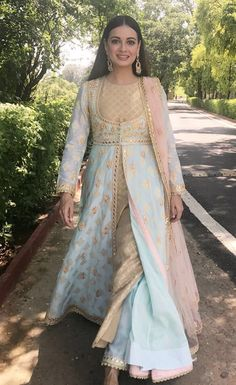 Dia Mirza in Anarkali. Pakistani Dresses, Indian Dresses, Indian Outfits, Bridal Anarkali Suits, Lehenga Wedding, Indian Attire, Indian Wear, Ethnic Fashion, Asian Fashion