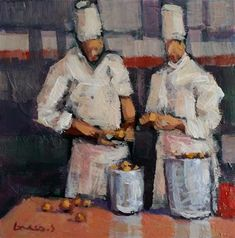 """Daily Paintworks - """"chef at work #1"""" - Original Fine Art for Sale - © salvatore greco"""