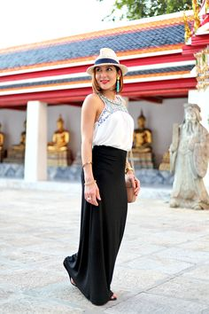 Blame-it-on-Mei-Miami-Fashion-Travel-Blogger-Thailand-Bangkok-Buddhist-Building-Temple-Maxi-Black-Skirt-Gucci-Soho-Crossbody-Panama-Hat-Travel-Outfit-Look-Embroidered-Shirt