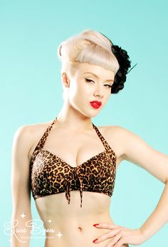 Pinup Girl Clothing | Vintage Pinup Bikini Top in Leopard from Pinup Couture