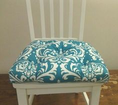 Set of 4 tufted chair cushions, ozborne damask turquoise and white, custom made. $160.00, via Etsy.