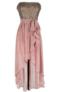 Rose Pink Sequin High-Low Strapless Dress