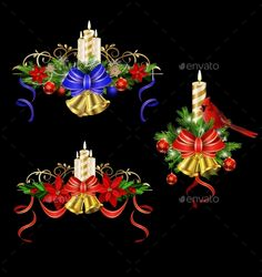 Christmas decoration element set with evergreen treess holly and poinsettia isolated on black with swirls and candles bells