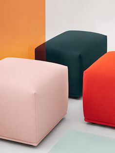 The Echo Pouf has a simple, friendly expression that brings comfort and function to any space alongside its light and almost hovering expression through its small legs underneath. The name of the Echo Pouf refers to how the design can be used in symmetric formations or clusters with various sizes and upholsteries, creating visual echoes throughout the space. #scandinaviandesign #homedecor #muutodesign Scandinavian Interior Design, Scandinavian Living, Minimal Decor, Upholstered Furniture, Chair And Ottoman, Sofa Design, Design Inspiration, Interior Inspiration, Upholstery