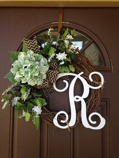 Front door wreath with initial  Wreath for Summer  by Flowenka