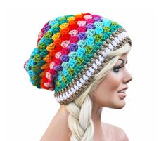 Hey, I found this really awesome Etsy listing at https://www.etsy.com/uk/listing/130646720/crochet-slouch-rainbow-beanie-granny
