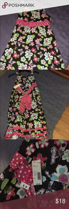 New With Tags Size 14 Little Girl's Dress Brand New With Tags Attached Duchess brand little girl's dress, black with spaghetti straps and pink with white polka dot pattern around waist and around the bottom of the dress, has floral and butterfly print on entire dress Duchess Dresses Casual