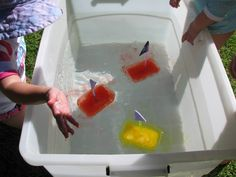 Boats Water Play Can't wait to try this. Make ice boats with kids to show that ice floats on water. Make ice boats with kids to show that ice floats on water. Sensory Activities, Sensory Play, Learning Activities, Preschool Activities, Preschool Science, Science For Kids, Science Ideas, Activity Ideas, Craft Ideas