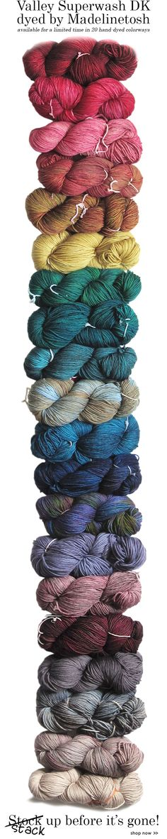 Love the photo our email marketer put in an email for the Valley Yarns 40th Anniversary Valley Superwash DK hand dyed by Madelinetosh. #WEBS40th #yarn