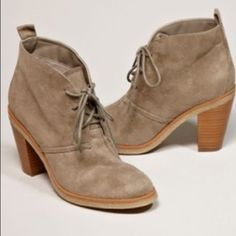 AEO Desert booties.  Cute lace up booties. 3 in heel. Beige color with greenish beige laces. Only minor flaws I showed in pics. Not noticeable.  American Eagle Outfitters Shoes Ankle Boots & Booties
