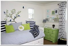 living the navy and green color combination for a little boys room!