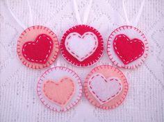 Pink valentine decorations, pink felt heart, heart ornaments, handmade ornaments. $16.00, via Etsy.