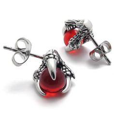 Nice...Amazon.com: KONOV Jewelry Vintage Stainless Steel Dragon Claw Men's Stud Earrings for men Set, 2pcs, Color Silver Red: KONOV Jewelry: Jewelry