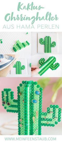 DIY cactus earring holder made of iron beads, # iron beads . DIY cactus earring holder made of iron beads, # Bügelperlen Diy Jewelry Unique, Diy Jewelry To Sell, Diy Jewelry Holder, Diy Jewelry Tutorials, Diy Jewelry Making, Diy Perler Beads, Perler Bead Art, Cactus Earrings, Diy Earrings