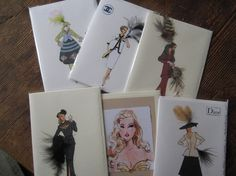 Fashion Illustration mix and match any 4 cards by claudiacreates, $25.00