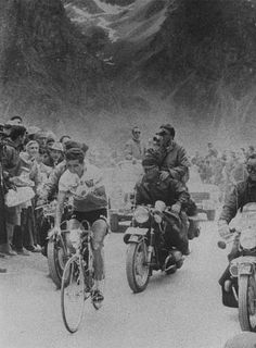 Federico Bahamontes having the mighty, heaving Tourmalet for lunch in 1959, at the time the cyclist weighed-in at a mere 56 kg. and most of that was on his legs
