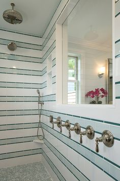 3 different tiles make the wall pattern: – 11 rows of 6″h = 66″h  (white 6″x12″ subway).   – 10 rows of 3″h = 30″h  (light green 3″x6″ subway).   – 20 rows of 9/16″ = 10″h  (darker green glass pencil at 9/16″x6″). White Subway Tile:= Royal Mosa – 15 Thirty; extra white gloss #61213710; 6x12  as the white. Light Green Subway =  Pratt & Larson Ceramics PF-36XX/3×6 Field;  Glaze Color: R148. Pencil – AEC Hamptons Glass; Wave #GLSHAMWAVSLG;  9/16″ x 6″.