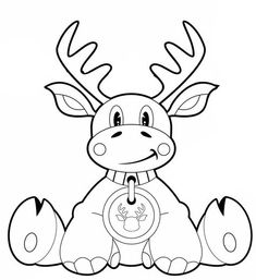 Moose cartoon / colouring page Christmas Colors, Christmas Crafts, Xmas, Christmas Print, Colouring Pages, Coloring Sheets, Christmas Coloring Pages, Pictures To Draw, Reindeer