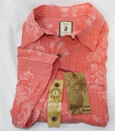 Jamaica Jaxx Men's 100% Silk Casual Shirt Size L Salmon Floral Print #JamaicaJaxx #Hawaiian
