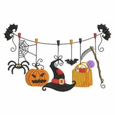 Sweet Heirloom Embroidery Design: Halloween Clothesline 2.40 inches H x 3.78 inches W