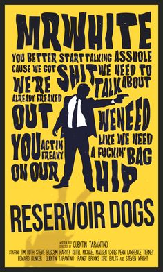"Reservoir Dogs - ""You better start talking asshole cause we got shit we need to talk about..."" - Mr White #GangsterMovie #GangsterFlick"