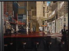 Central Savings. Richard Estes, 1975. Esta obra pertenece al Hiperrealismo, una corriente que surge como oposición a las Vanguardias, que de una forma u otra se alejan del realismo. Vuelve el interés por reperesntar la realidad tal cual es, pero de la forma más exacta que jamás se ha conocido en el arte. El cuadro representa el interior de una bar, no sólo destaca la precisión con la que imita el lugar, también es una forma de invitarnos a la reflexión frente a la actual sociedad de consumo.