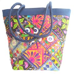 Handmade Silk Kutch Work Handbag-Dark Blue:GiftPiper.com:Buy embroidered bags,embroidered handbags,kutch work bags,kutch work handbags,ethnic handbags