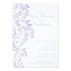 Modern Lavender Floral Leaf Girl Baby Shower Card