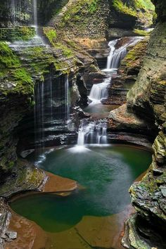 Rainbow Falls by Guy Schmickle Rainbow Falls (left) rains down into Glen Creek at Watkins Glen State Park, New York. Rainbow Falls by Guy Schmickle Rainbow Falls (left) rains down into Glen Creek at Watkins Glen State Park, New York. Oh The Places You'll Go, Places To Travel, Places To Visit, Beautiful Waterfalls, Beautiful Landscapes, Watkins Glen State Park, Rainbow Falls, Nature Photos, Vacation Ideas