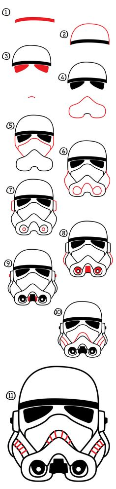 Watch and follow along with us to learn how to draw a stormtrooper helmet. It's fun and super easy, we made these steps just for kids!
