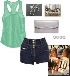 """Directioner Outfit With High-Waisted Shorts"" by violinu on Polyvore"