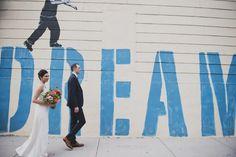 DREAM BIG!  A fav spot around the corner from #brooklynwinery © Khaki Bedford Photography / www.khakibedfordphoto.com #brideandgroom #brooklynwedding #brooklyn #brooklynmural #brooklynstreets #brooklynbride #brooklynwinery
