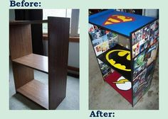 Comic books, Mod Podge, and Paint. My sons will be with marvel Boys Room Decor, Kids Decor, Boy Room, Kids Bedroom, Diy Home Decor, Bedroom Ideas, Comic Book Crafts, Comic Books, Furniture Makeover