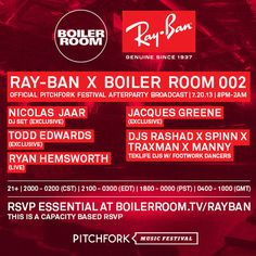 RYAN HEMSWORTH'S MIX FROM THE RAY BAN X BOILER ROOM 002 PITCHFORK AFTERPARTY