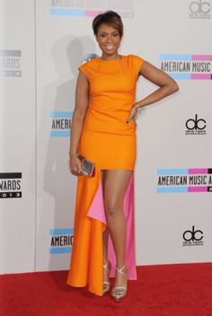How Dior Has Completely Taken Over the Red Carpet: Felicity Jones wore a polka-dot serge Dior dress to the Variety Screening Series of The Invisible Woman. : Jennifer Hudson complemented her new pixie cut with this gorgeous bright orange Christian Dior gown at the American Music Awards.