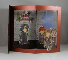 Hogwarts Envelope Fold Card - inside by Clownmom - Cards and Paper Crafts at Splitcoaststampers 3d Cards, Cool Cards, Folded Cards, Harry Potter Cards, Cumpleaños Harry Potter, Harry Potter Classroom, Homemade Birthday Cards, Image Paper, Wink Of Stella