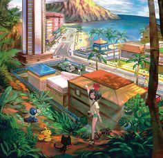 Pokemon Sun & Moon new visual; Hau'oli City (3DS)