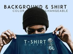1068e5f901d A T Shirt ( Tee ) Mockup With Model Free PSD. With changeable background  and you can change the color of the tshirt too.