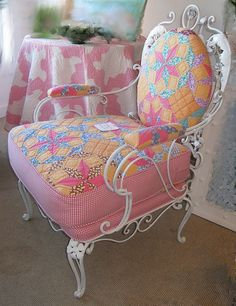 Need this chair too  turning a vintage outdoor chair into a beautiful indoor    need to find one now