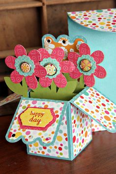 Echo Park Summer Bliss Flower Box card & envelope by Christine Ousley using papers and cutting files designed by Lori Whitlock.