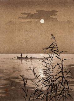 Japanese Art Print Moonlit Sea by Koho Shoda
