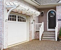 Garage Trellis and Jamestown Railing | Walpole Outdoors--I want something like this for the deck---be great for a porch swing!