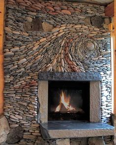 Stone Fireplace Designs, Stone Mantel, Fireplace Art, Fireplace Remodel, Farmhouse Fireplace, Fireplace Ideas, Fireplace Makeovers, River Rock Fireplaces, Natural Stone Fireplaces
