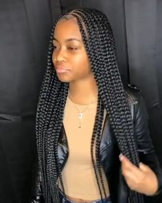 Box Braids Hairstyles For Black Women, Faux Locs Hairstyles, Feed In Braids Hairstyles, Cute Braided Hairstyles, Black Girl Braids, Braids For Black Women, Braids For Black Hair, My Hairstyle, Girls Braids