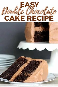 This is an easy chocolate cake to put together. It's super rich and super moist. Your family will ask for it again and again. An easy, rich chocolate cake your family will ask for again and again. Super Moist Chocolate Cake, Sour Cream Chocolate Cake, Salted Caramel Chocolate Cake, Double Chocolate Cake, Sour Cream Cake, Chocolate Cake Mixes, Homeade Desserts, Chocolate Buttercream Recipe, Cake Recipes